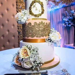 Peach and Gold Wedding Cake.