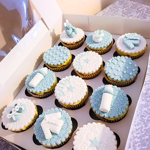 Baby Shower Boy Cupcakes.