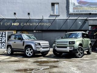 2 Land Rover Defenders worden gewrapped in XPEL STEALTH lakbescherming film
