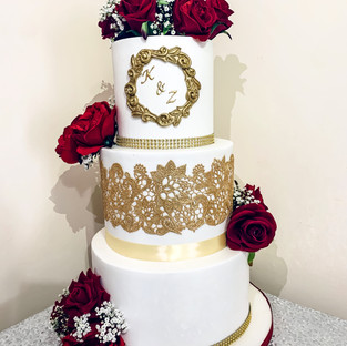 3 Tier Gold Lace Cake.