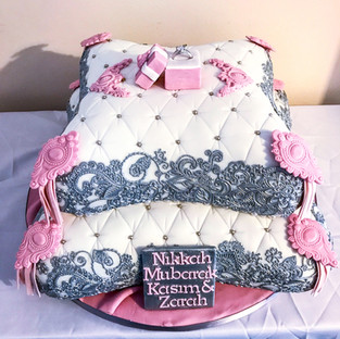 Silver Lace Pillow Cake.