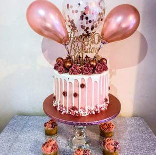 White & Burgandy Balloon Naked Cake