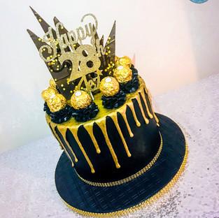 Black & Gold Naked Cake