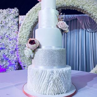 5 Tier Ruffle Wedding Cake.