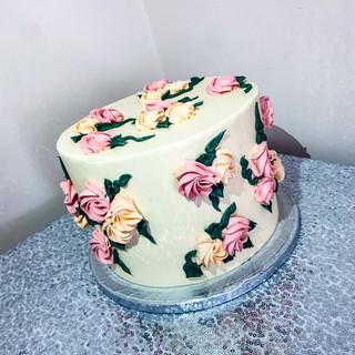 Piped Buttercream Cake.