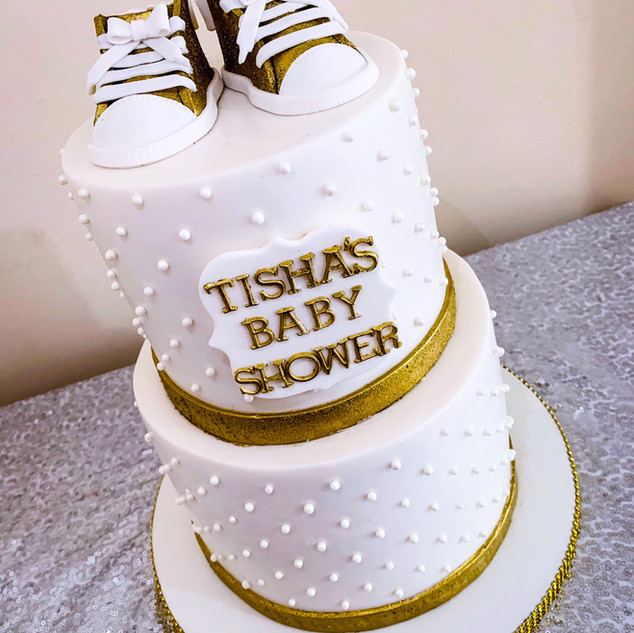 Gold and White Baby Shower Cake.