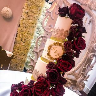 Maroon Cascade Wedding Cake.