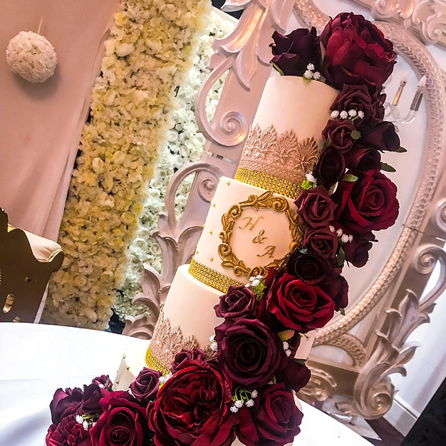 Maroon Cascade Wedding Cake.