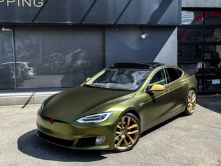 Tesla Model S Car wrap in Satin Hope Green