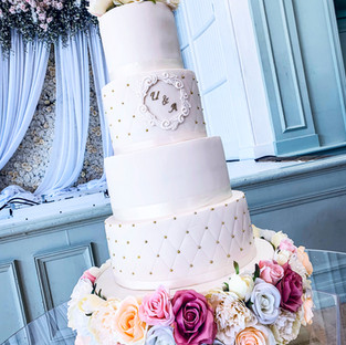 White Wedding Cake with Stand.
