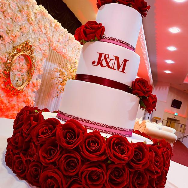 3 Tier White Wedding Cake.