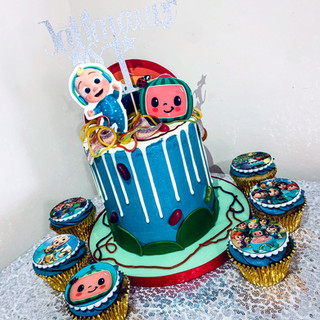Cocomelon Cake and Cupcakes.