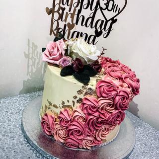 Gold Leaf and Rosette Cake.
