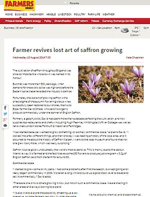 English Saffron Gin featured in Farmers Weekly Article