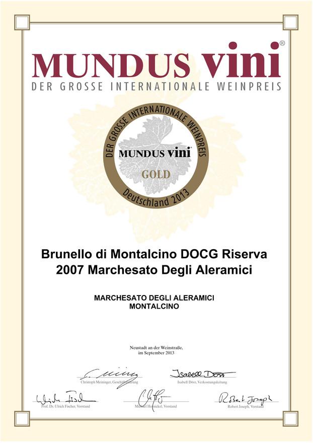 Mundus Vini oro Brunello Riserva 2007