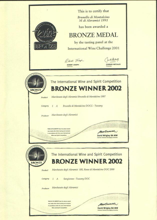 IWSC bronzo BM95, BM97 e RM00