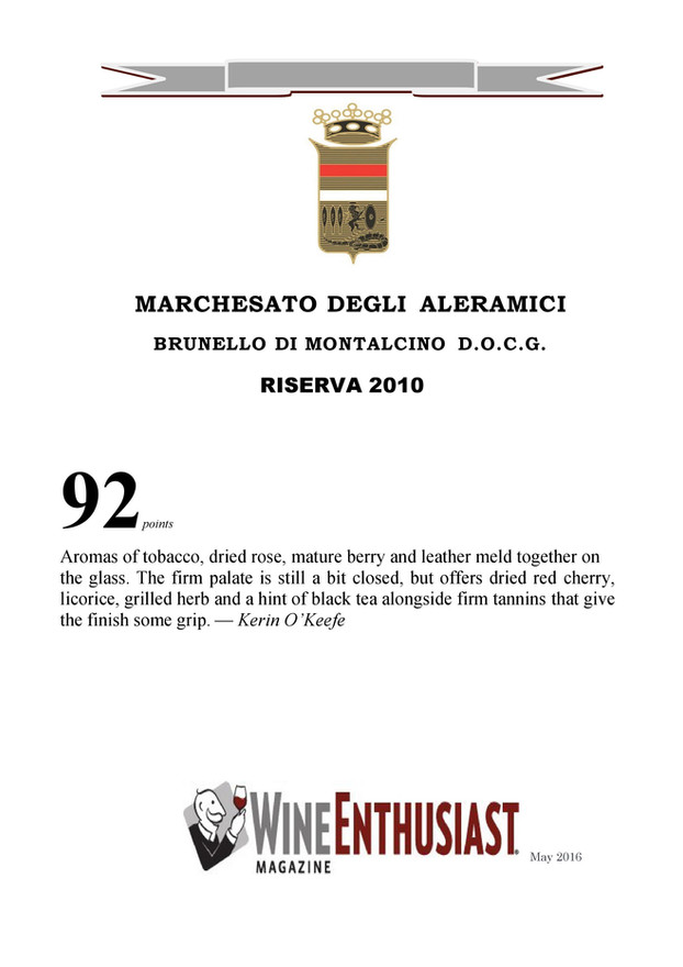 Wine Enthusiast Brunello Riserva 2010