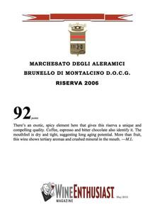 Wine Enthusiast Brunello Riserva 2006
