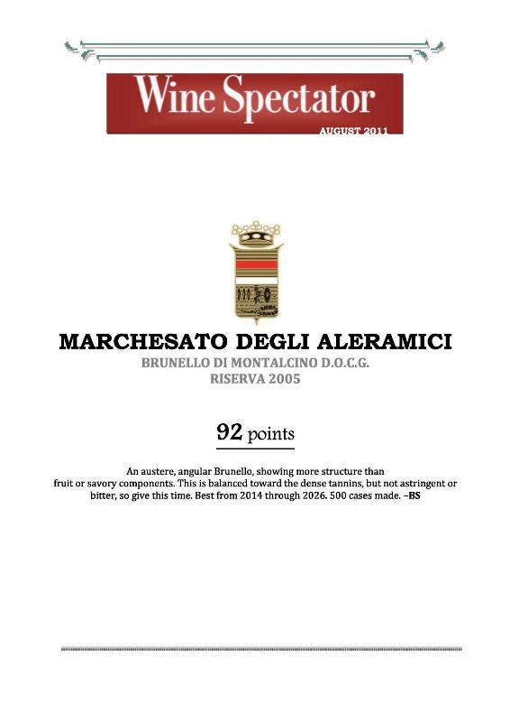 Wine Spectator Brunello Riserva 2005