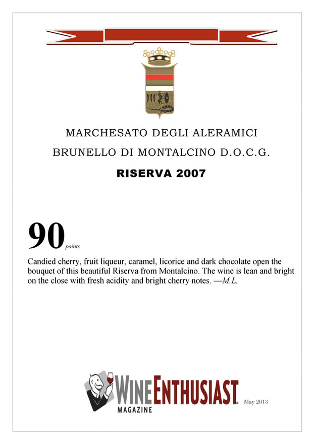 Wine Enthusiast Brunello Riserva 2007