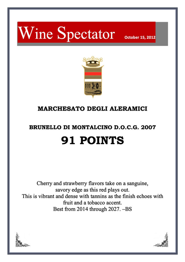Wine Spectator Brunello 2007