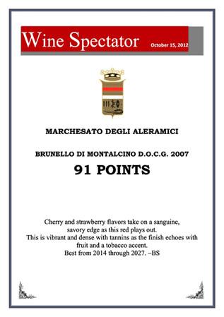 Wine Spectator Brunello 2007