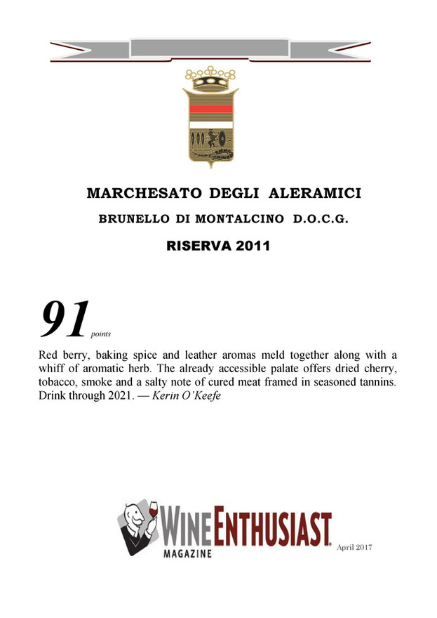 Wine Enthusiast Brunello Riserva 2011