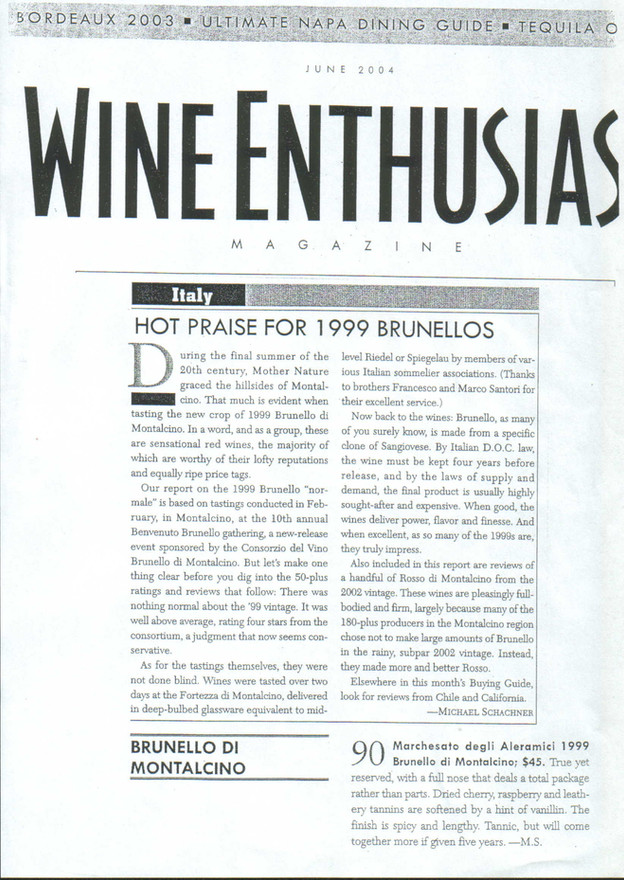 Wine Enthusiast Brunello 1999