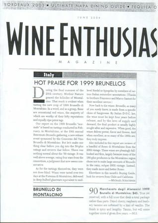 Wine Enthusiast Brunello 1999