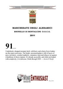 Wine Enthusiast Brunello 2011