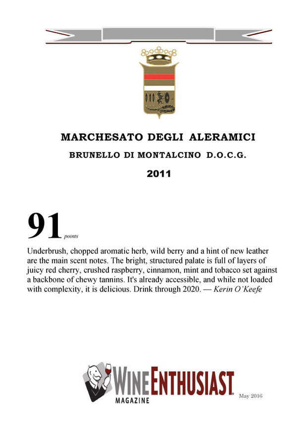Wine Enthusiast Brunello 2011