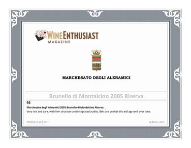 Wine Enthusiast Brunello Riserva 2005
