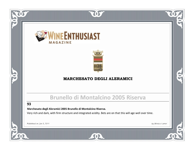 Wine Enthusiast Brunello Riserva 2005