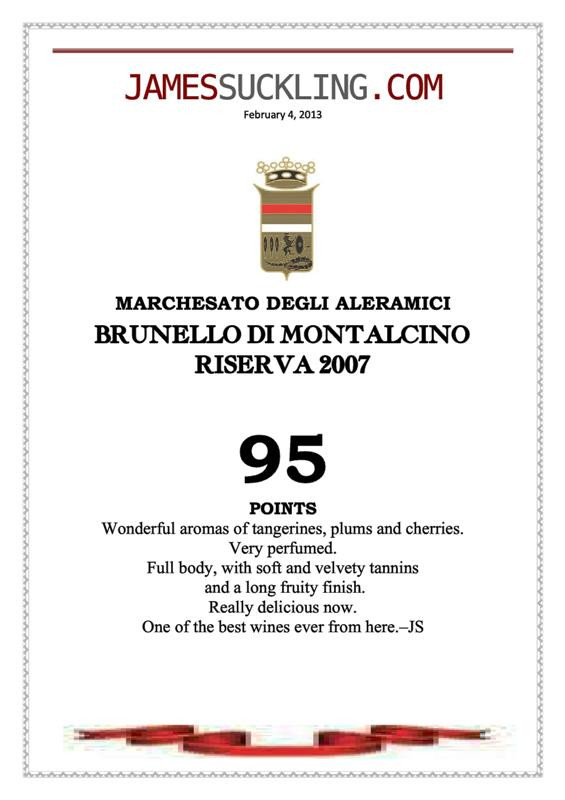 James Suckling Brunello Riserva 2007
