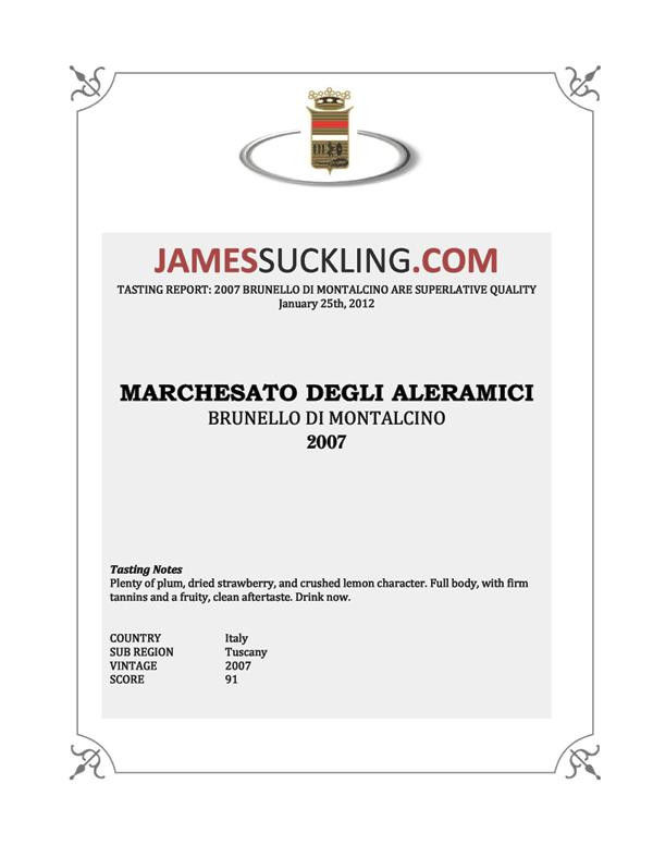 James Suckling Brunello 2007