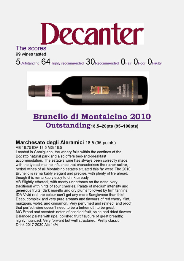 Decanter Brunello 2010