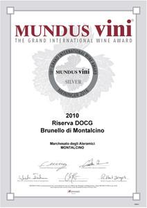 Mundus Vini argento Brunello Riserva 2010