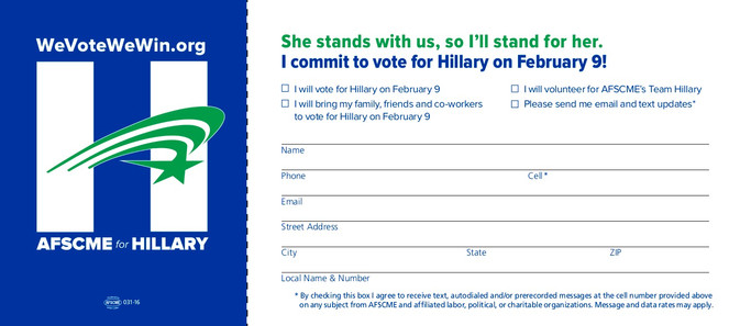 Hillary Commit Card NewHamp