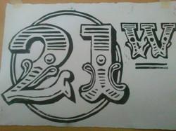 new logo distressed lino print