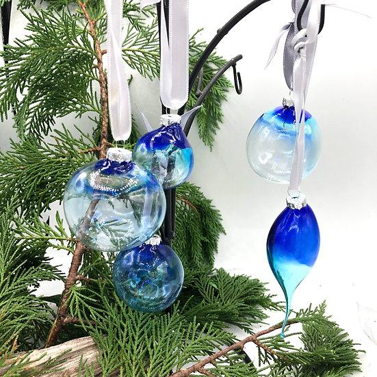 """Boules de Noël """"Nuances de bleu"""" /verre soufflé"""
