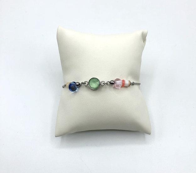 "Bracelet ""bohème "" vert/ Verre filé"