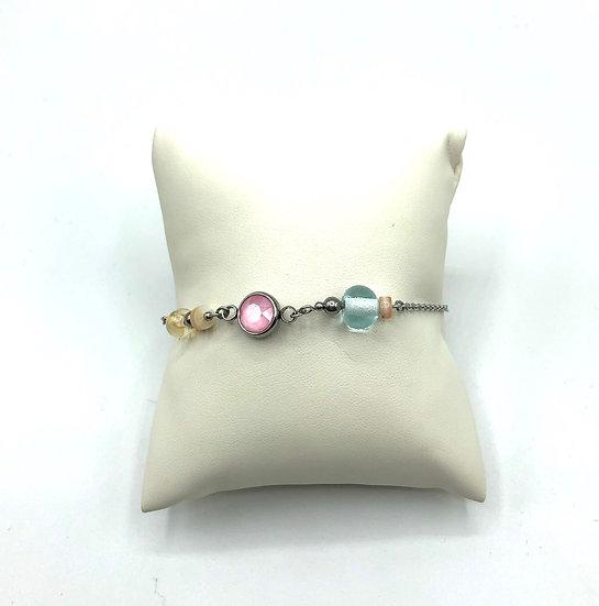 """Bracelet  """"Bohème """" rose /Verre filé"""