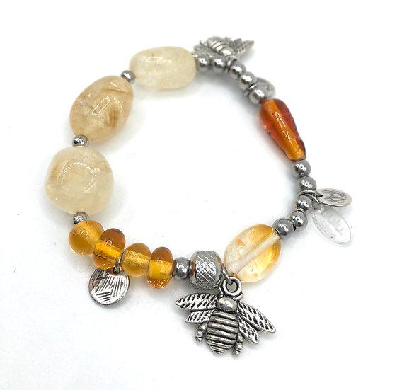"""Bracelet """"Apis Mellifera""""/ Verre Filé et Citrine"""