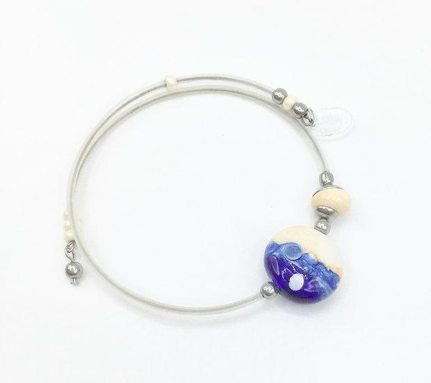 Bracelet  «Blue moon»/ Verre filé