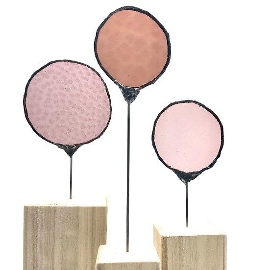 Ø les ronds ! Sculpture 3 éléments  roses / Verre vitrail