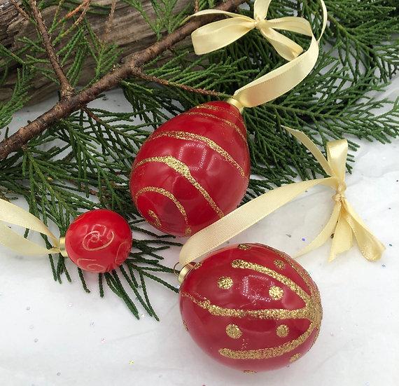 Boules de Noël  rouge et dorées /verre soufflé