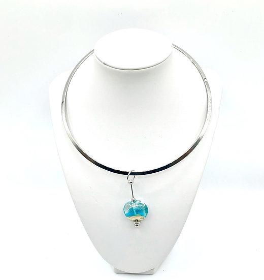 Collier Perle d'eau / Verre filé