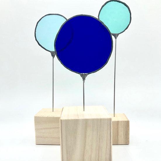 Ø les ronds ! Sculpture 3 éléments  bleus/ Verre vitrail