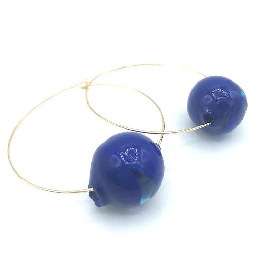 Créoles  bulles d'Ø bleues cobalt / Verre filé