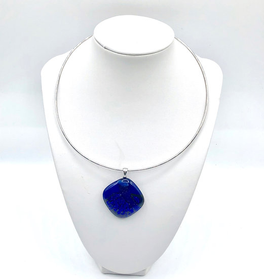 "Collier ""Grand Bleu"" / Verre fusion"